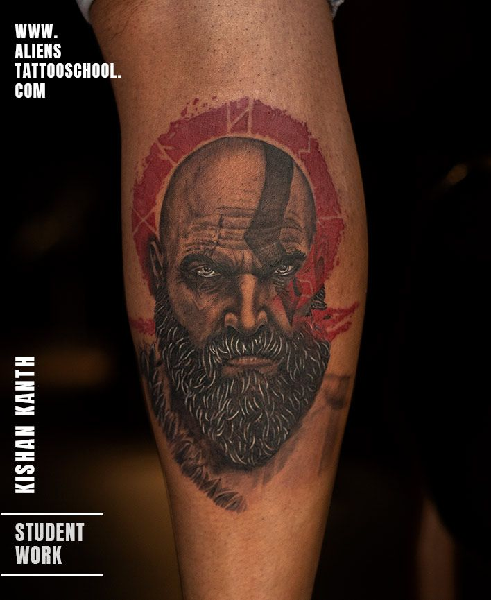 Kratos Tattoo By Kishan Kanth At Aliens Tattoo School Alien Tattoo Tattoos Learn To Tattoo