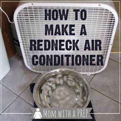 "The ice cold water in front of a fan cools down the breeze before it hits you on a blistering day. This blogger dubs it the ""Redneck Air Conditioner"" (her words, not ours.) See more at Mom With a Prep »"