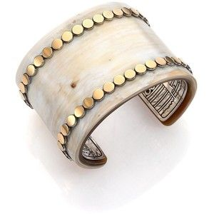 John Hardy Dot Buffalo Horn, 18K Yellow Gold & Sterling Silver Wide Cuff Bracelet