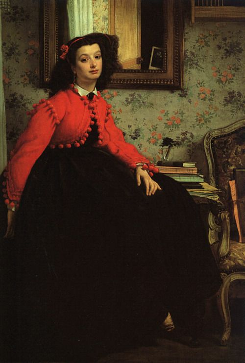 yeoldefashion:  A teenage girl wears a wonderful bright red Zouave-style jacket with puff-ball trim in James Tissot's 1864 Portrait of Miss L. L.