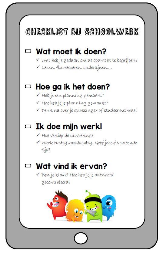 Checklist bij schoolwerk - https://dagmeester.wordpress.com/2015/09/07/checklist-bij-schoolwerk