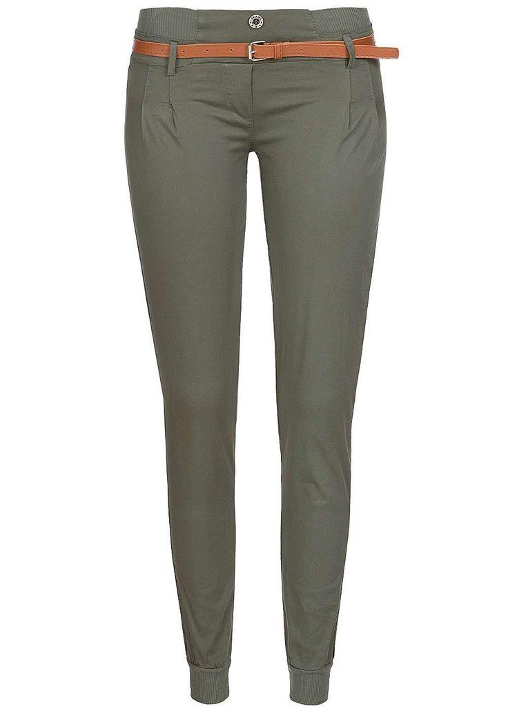 Styleboom Fashion Damen Chino Hose mit Gürtel 2 deko Knöpfe Bündchen military grün - 77onlineshop