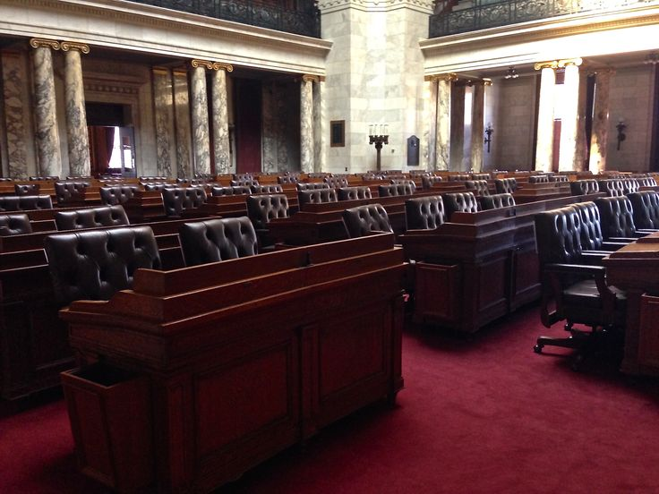 The Wisconsin Assembly is comprised of 99 representatives.  Each member serves a two-year term.  This is the Assembly Chamber where they deliberate on bills.