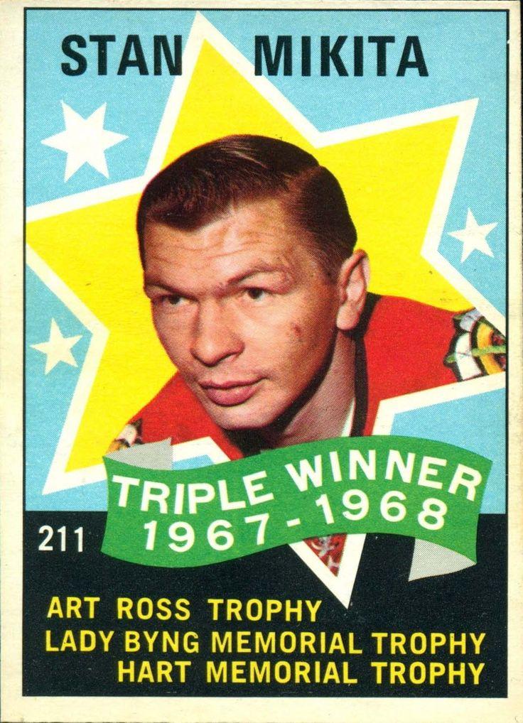 1968-69 O-Pee-Chee Stan Mikita triple crown hockey card.