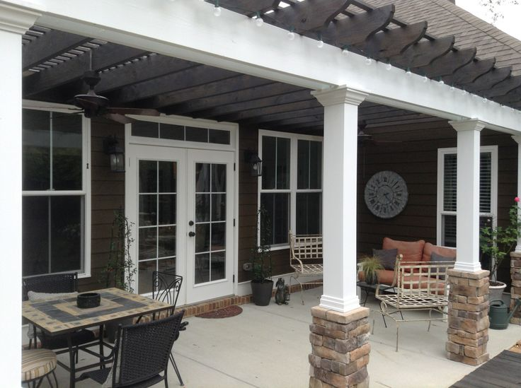 Patio With Pergola Added To Craftsman Style Home Stone