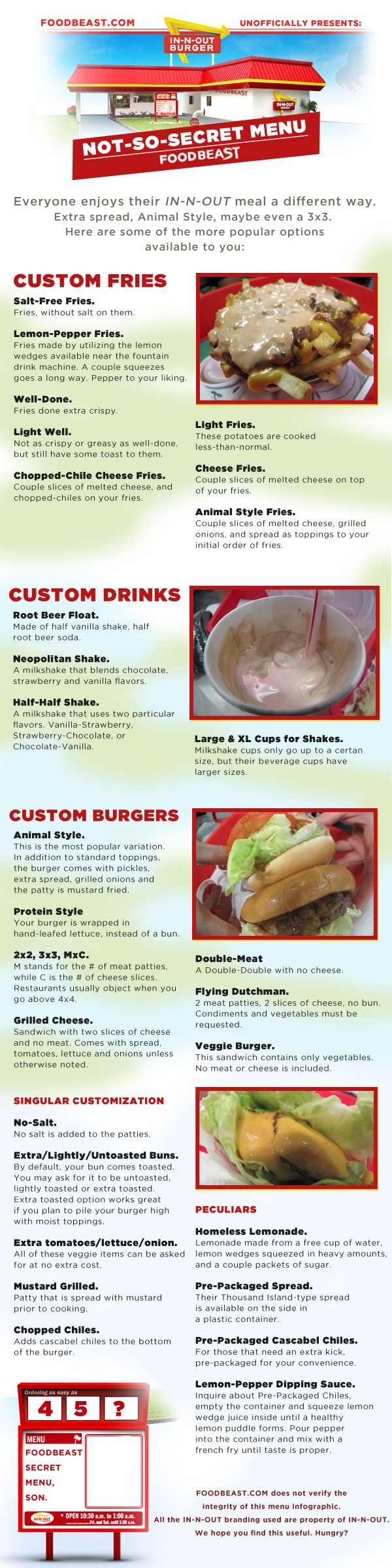 So good to know when I get to an In-N-Out Burger again! foodbeast-innout-not-so-secret-infographic.jpg 600×2,396 pixels
