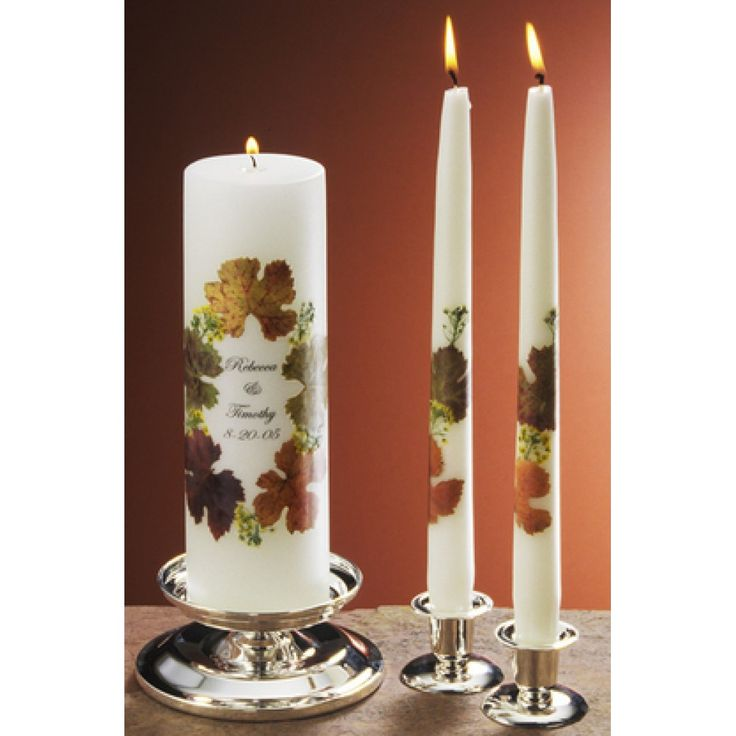 3x9 Fall Leaves Wedding Unity Candles with
