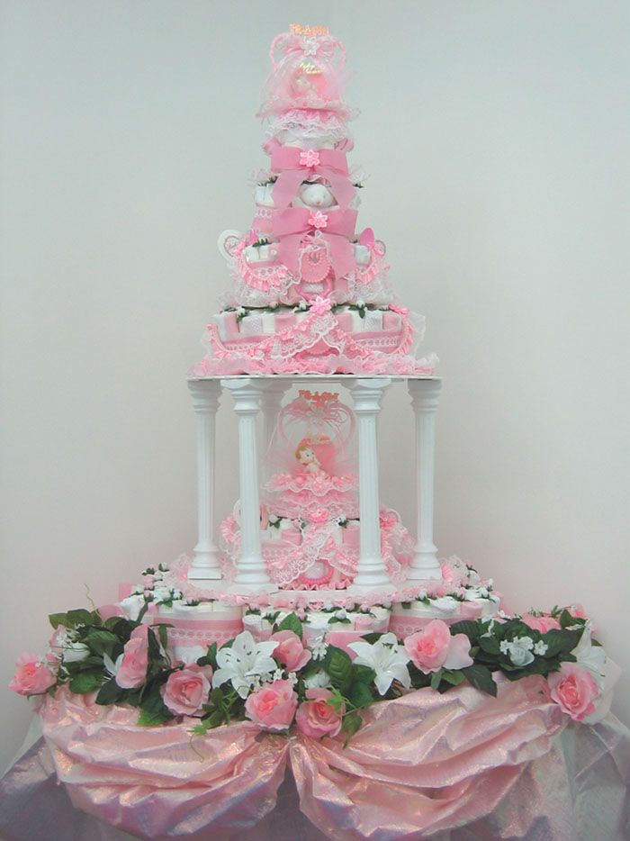 Towel Wedding Cake Centerpiece | Introducing the Worlds First Diaper Cake that Resembles Wedding Cakes