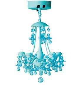 LED Locker Chandelier Light - Aqua Blue Image
