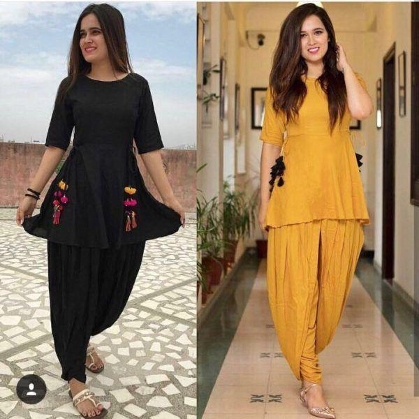 Partywear Yellow Black Cotton Two Combo Dhoti Patiyala Suit