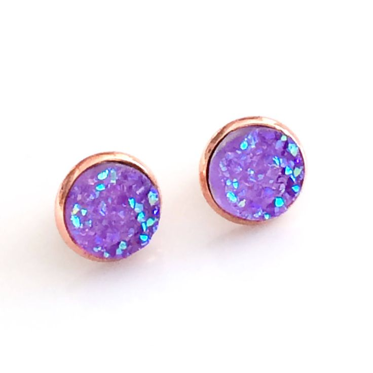 Purple Druzy earrings - Rose Gold plated - Purple Earrings - 12 mm - Faux Druzy Stud Earrings - stud earrings - bridesmaid gift Canada by AnisasClayCreations on Etsy https://www.etsy.com/ca/listing/543772179/purple-druzy-earrings-rose-gold-plated