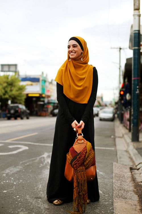 hopeful to look like this woman in my yellow-ish hijab when we're overseas.