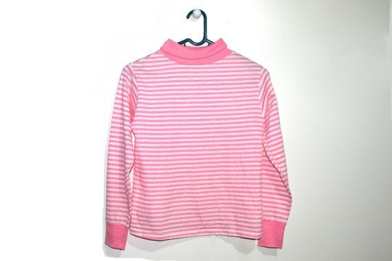 Pink White Striped Turtleneck Sweater