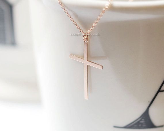 skinny Rose Gold Cross necklace/ Rose Gold Filled by MissDiary