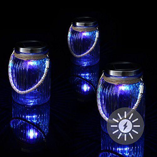 Spectacular er Set Solarglas mit LED Solar Farbwechsel mit Aufh nger Glas Gartenbeleuchtung cm H he cm Party Garten Licht f r Au en mit Solarpanel Sonnen