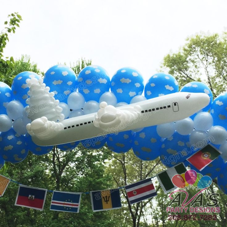 Airplane Balloon Sculpture for travel theme birthday party or event