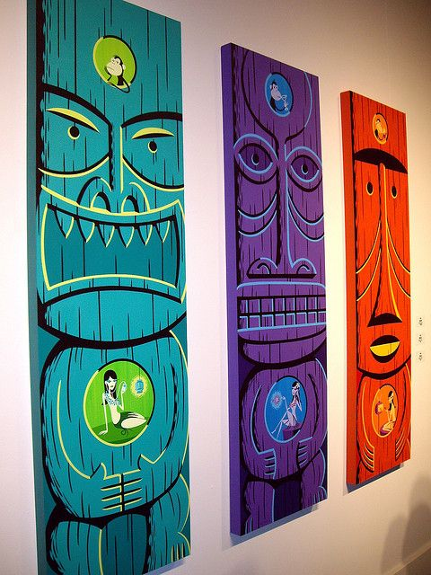 Tiki art by Josh Agle (SHAG) - 3 panels for yard inspiration...
