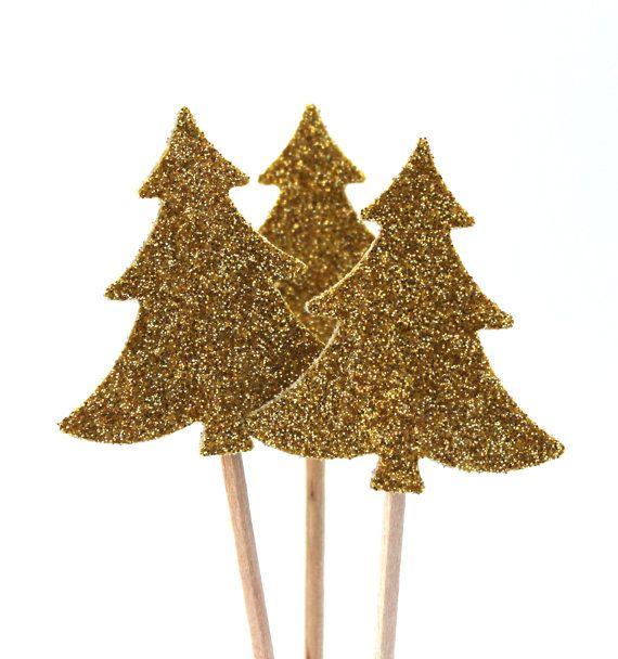 Goldener tannenbaum muffin dekoration f r von - Tannenbaum dekoration ...