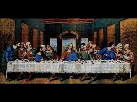 nuevos patrones punto de cruz religion buen pastor santa cena - YouTube