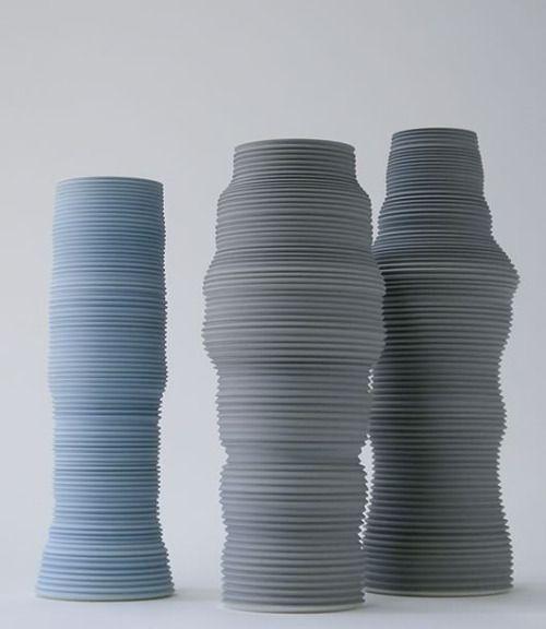 Porzellan, gedreht, Engoben, oxidierend gebrannt bei 1250°