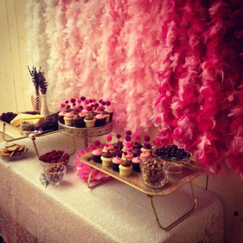 Ombre feather boa party backdrop. Super easy to make! Could simply pin these up and then possibly wear them for dancing time!
