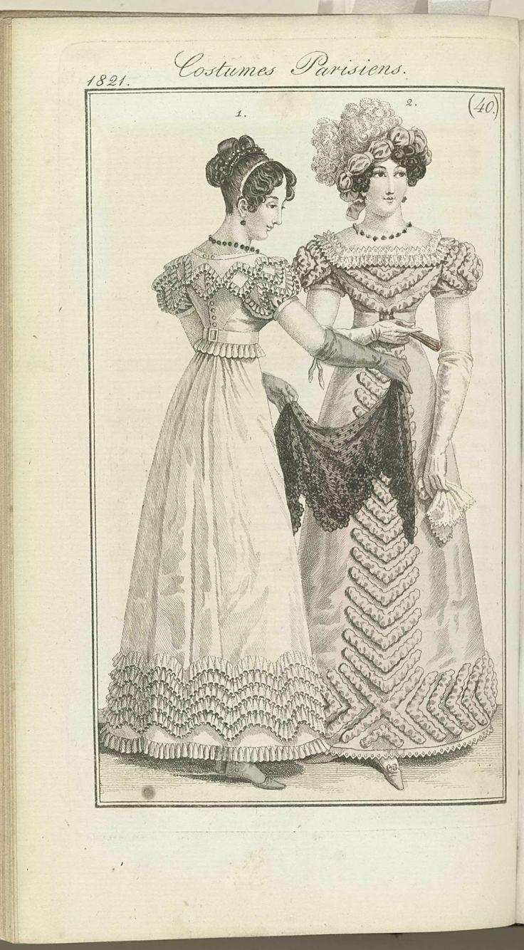 Journal des Dames et des Modes, editie Frankfurt 1 octobre 1821, Costumes Parisiens (40), anoniem, J.P. Lemaire, 1821