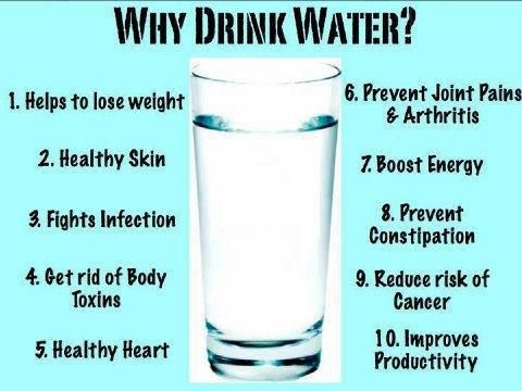 WHY DRINK WATER? Helps to lose weight. Healthy skin. Fights infection. Gets rid of body toxins. Healthy heart. Prevents joint pains and arthritis. Boosts energy. Prevents constipation. Reduces risk of cancer. Improves productivity.