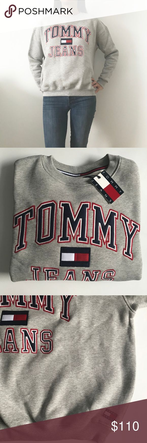 """⚡️PRICE DROP ⚡️Tommy Hilfiger grey Sweatshirt Sold out online! Classic Tommy Hilfiger sweatshirt for that retro look. New but """"vintage"""". So hot right now!  Size XS.  Chest: 25 inches across from armpit to armpit (laying flat). 23 inches in length from top of shoulder to bottom hem. See my other listings for this sweatshirt in Large (Navy) and Medium (Red). Tommy Hilfiger Tops Sweatshirts & Hoodies"""