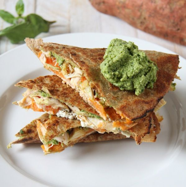 23 Sweet Potato Recipes like these Spinach, Hummus and Sweet Potato Quesadillas from 24 Carrot Life