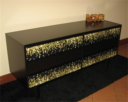 Sideboard Black with drawers modern and unique design