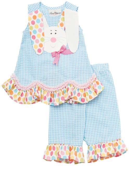 RARE Editions Girls Turquoise Easter Bunny Spring Summer Capri Outfit Set