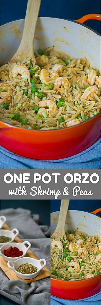 This 30 minute meal is the definition of healthy comfort food. Whole wheat orzo, shrimp and peas come together in a one pot meal. 329 calories and 8 Weight Watchers SmartPoints