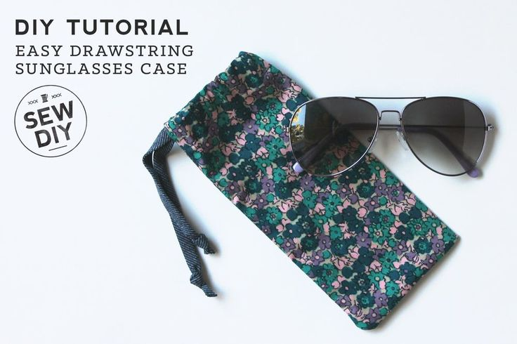 Easy Summer Sewing Projects to use up fabric offcuts - simple drawstring sunglasses case #Sewing