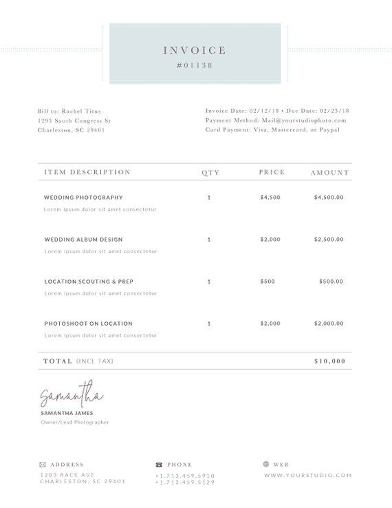 Photography Invoice Receipt Form for Photoshop & MS Word