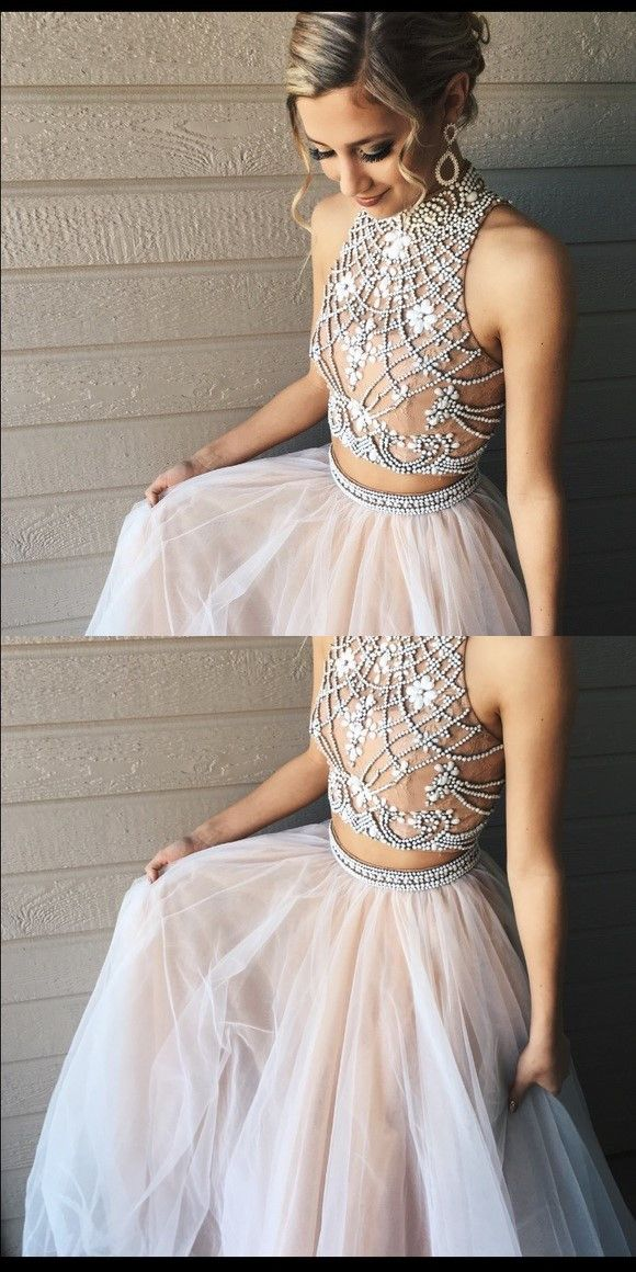 2017 prom dress, two piece prom dress, two piece prom dress, pink long prom dress