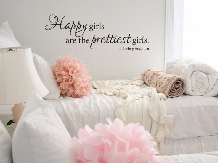 Wall decal happy girls are the prettiest girls audrey hepburn vinyl wall decal wall decals - Most beautiful girls rooms ...