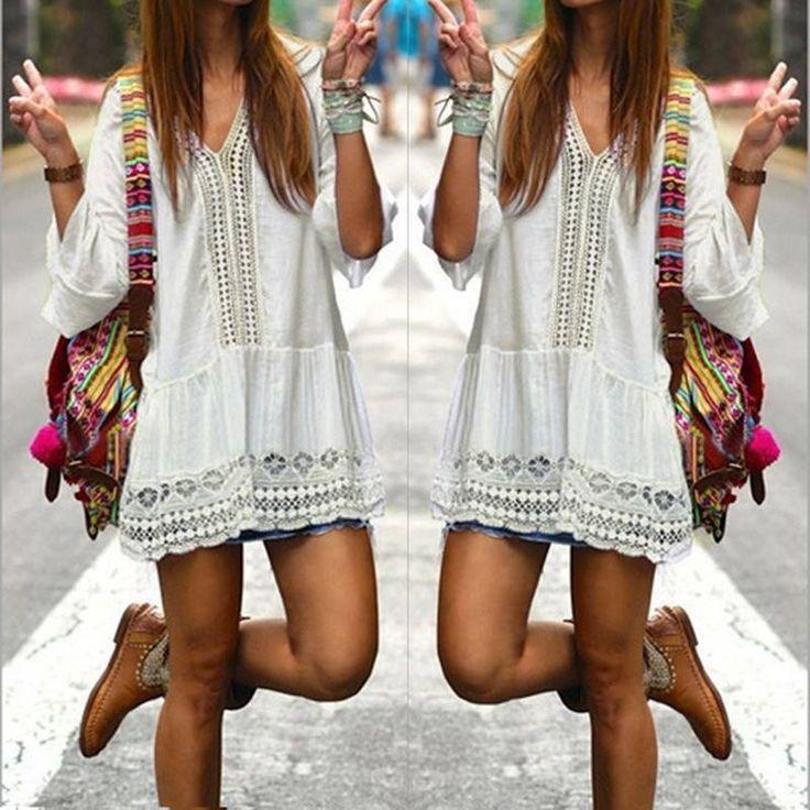 Weißes Hippie Kleid mit Spitzen Bohemian boho Look Strandkleid beachdress gipsy