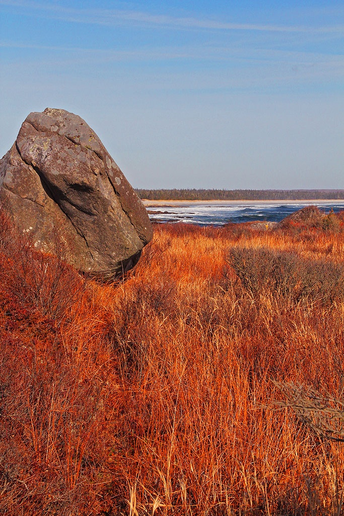 One of many huge rocks moved by glaciers thousands of years ago at Kejimkujik Seaside Park, Port Joli, Nova Scotia.