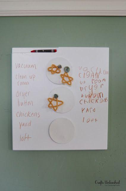 $5 Chore Star Charts - IKEA Hackers  met deuren met een randje waarin dan een whiteboard krijtje of stift kan liggen. kun je gemakkelijk voor 1-2 euro een deur kopen die je als whiteboard gebruiken kunt