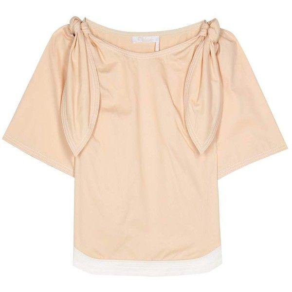 Chloé Embellished Cotton Top ($597) via Polyvore featuring tops, beige, short-sleeved, embellished top, beige top, chloe top and short sleeve tops