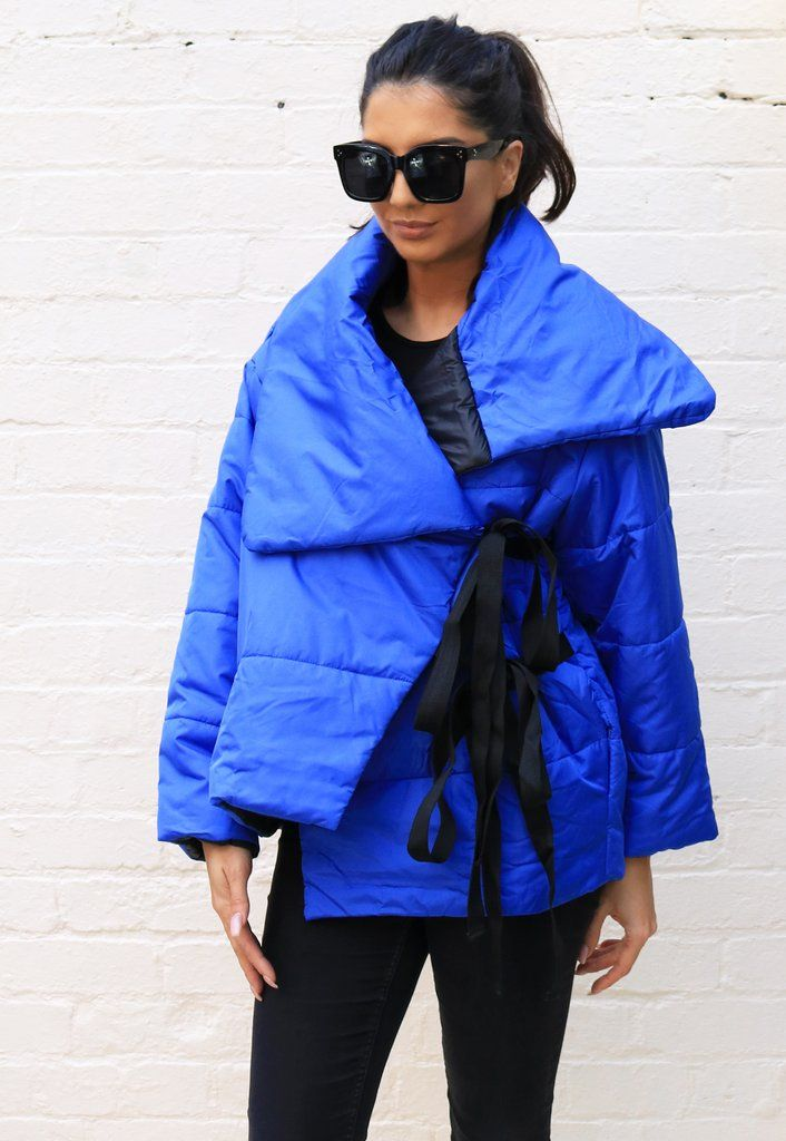 8dfc773e5 GLAMOROUS Wrap Over Blanket Style Puffer Jacket in Cobalt Blue - One Nation  Clothing