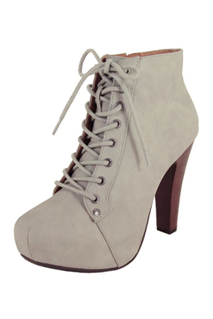 cheap purses online Grey Lace Up Booties 30  shoes