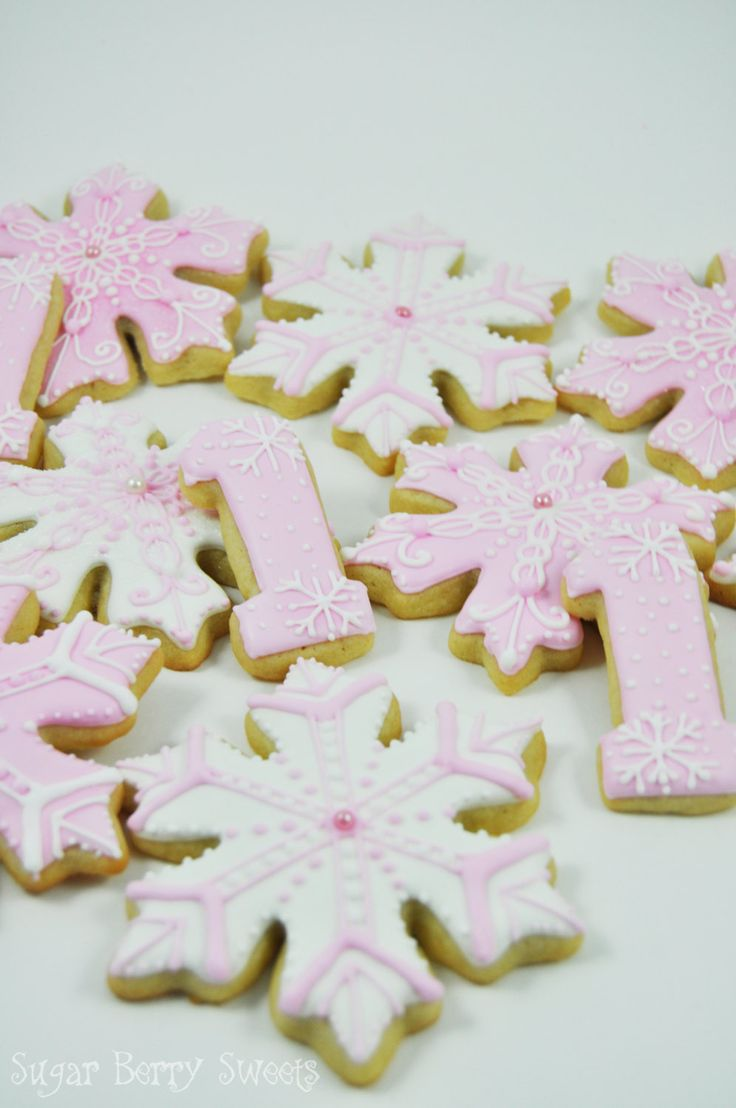 Winter Wonderland Onederland Snowflakes and number One Cookies - 1 Dozen - cute pink sugar cookies - perfect for Girl First Birthday Party