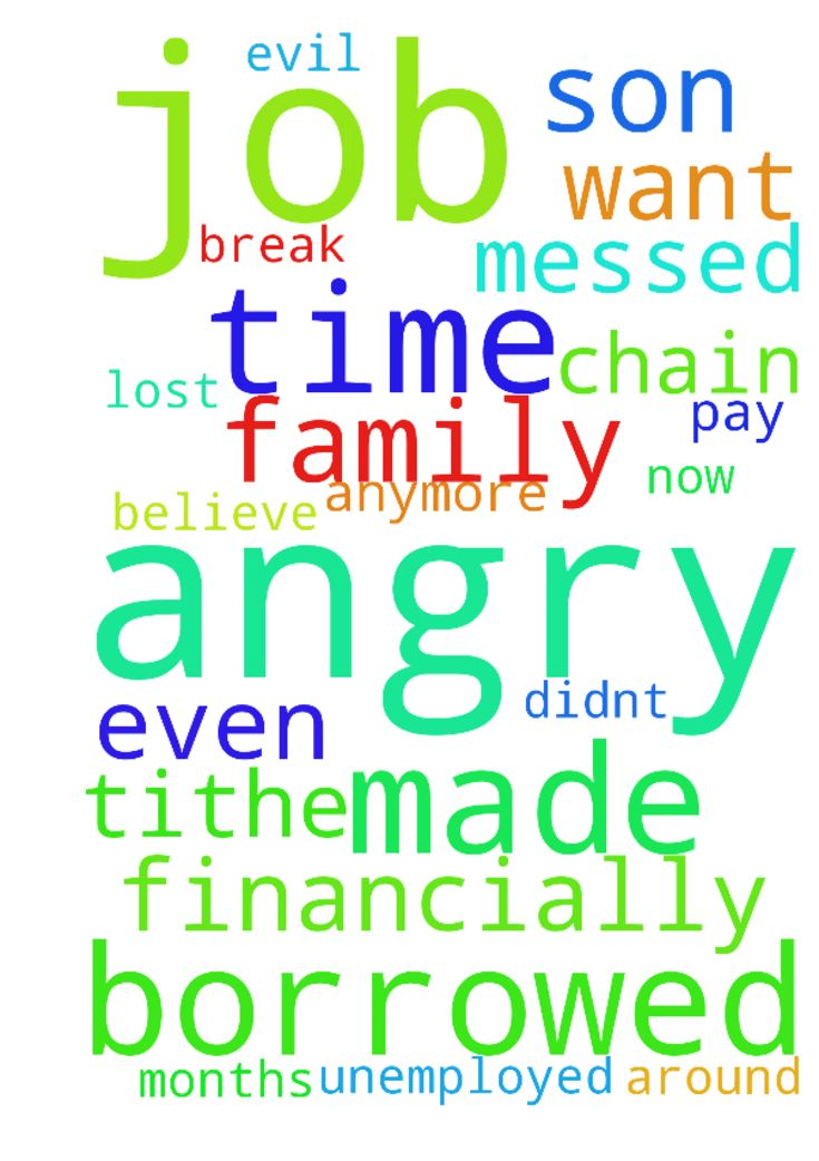 I made God angry this time, He borrowed me a job, and - I made God angry this time, He borrowed me a job, and i didnt pay tithe for 2 months, now i messed up my job, i lost it, i believe God is angry at me because even my son doesnt want to help me financially anymore. Please break the evil chain around my unemployed family,  Posted at: https://prayerrequest.com/t/RhE #pray #prayer #request #prayerrequest