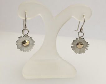 Sterling Silver drop earrings cut using templates from photos I took of daisies from my garden.