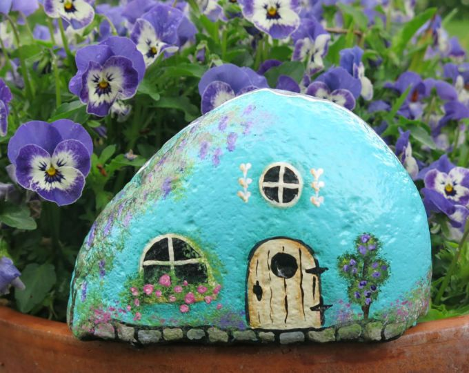 Painted Blue Fairy Garden Rock Cottage, Miniature Stone Gnome Home, Stone House