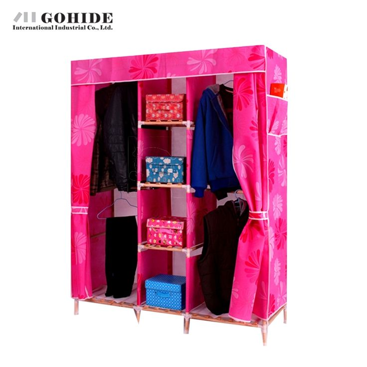 170.08$  Watch here - http://alibz9.worldwells.pw/go.php?t=32599868162 - Gohide Double Solid Wood Wardrobe Easy Folding Wardrobe Non-Woven Wardrobe Furniture Wardrobes With Simple Lockers For Bedroom