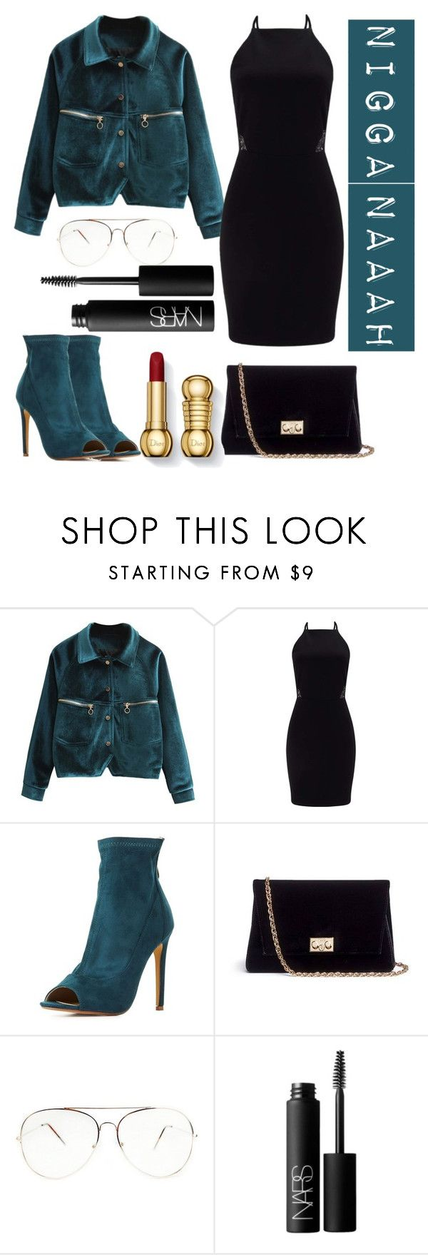 """""""Velvet"""" by saraprifti ❤ liked on Polyvore featuring Miss Selfridge, Cape Robbin, Rodo and NARS Cosmetics"""