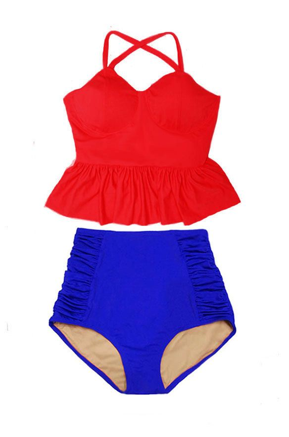 Red Long Peplum Top and Blue Ruched High-waist waist waisted cut Bottom Vintage Retro Swimsuit Swimwear Bikini set sets Swimsuits S M L XL by venderstore on Etsy
