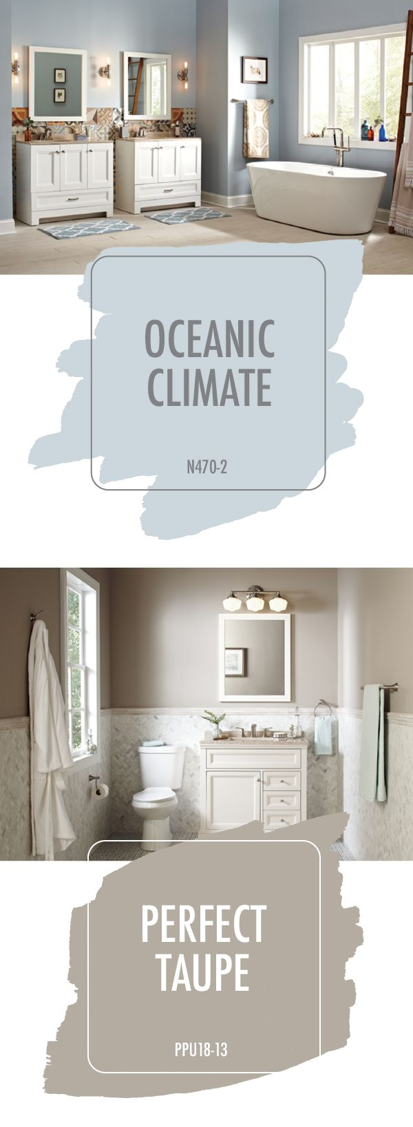 There's hundreds of different ways that you can renovate your bathroom. Choose a style that will last, like these modern neutral bathrooms. Classic colors like Oceanic Climate and Perfect Taupe are subtle and elegant ways to give your home a fresh new look. Check out the rest of these chic styles today.